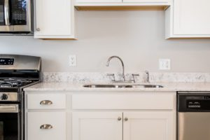 granite counters in stainless steel kitchen