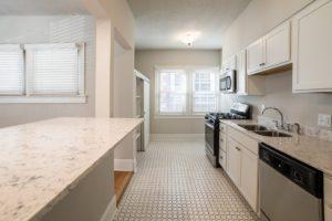 beautiful circular tiled floor in updated kitchen