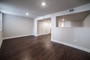 dark, wood floors in townhome