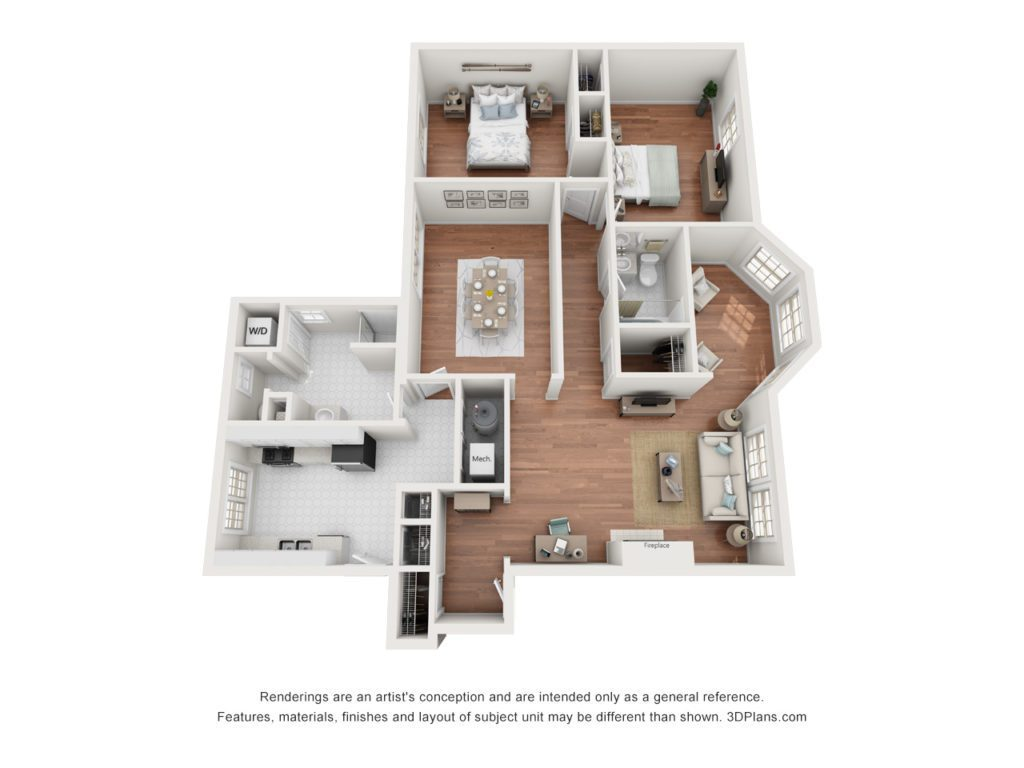 2 bed 1.5 bath apartment, 1343 sq. ft. in size