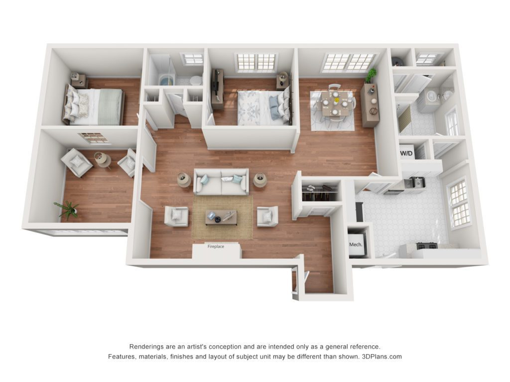 2 bed 1.5 bath apartment, 1349 sq. ft. in size
