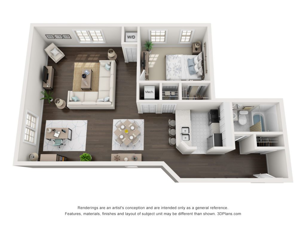 1 bed 1 bath apartment, 818 sq. ft. in size