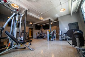 fitness center has lot of equipment for use