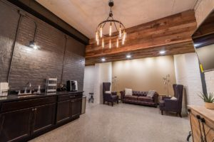 industrial decore in basement lounge area